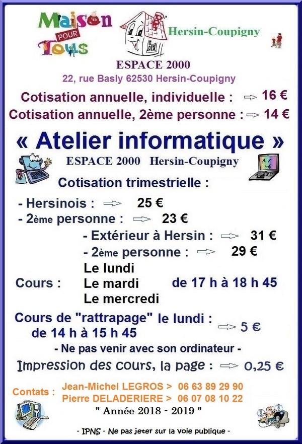 Informatique Tarif 2018-2019